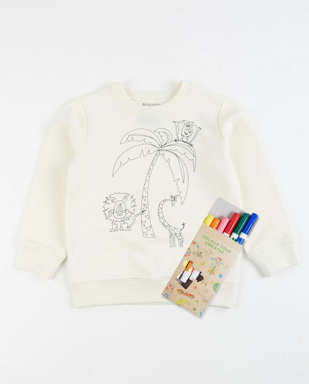Sweater mit Palme - und Textilstiften - JBC